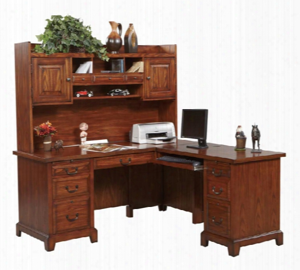 "66""w X 69""d X 68""h L-shaped Desk With Hutch By Wilshire Furniture"