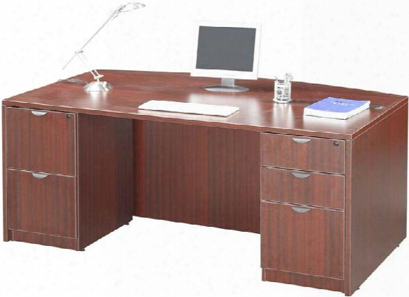"71"" Double Pedestal Bow Front Desk By Office Source"