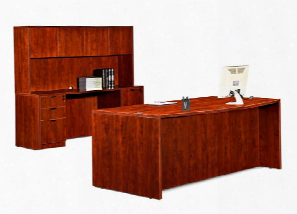 "72"" Bow Front Desk With Credenza And Hutch By Marquis"