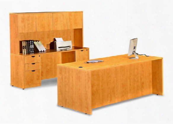 "72"" Desk With Credenza And Hutch By Marquis"