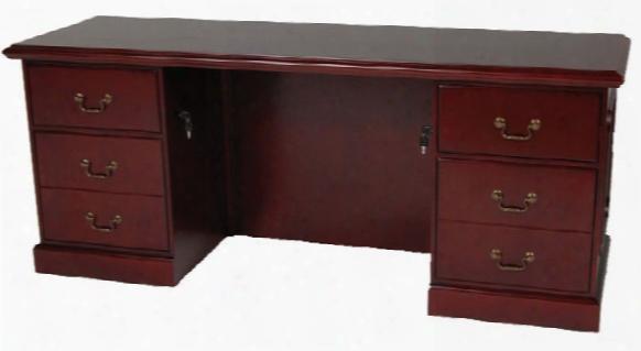 "72"" Double Pedestal Veneer Executive Credenza By Furniture Design Group"