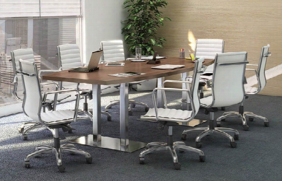 8' Conference Table With Brushed Aluminum Bases By Office Source