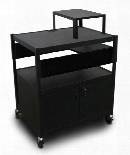 Adjustable Cart With 1 Pull-out Side-shelf, Cabinet, And Expansion Shelf By Marvel