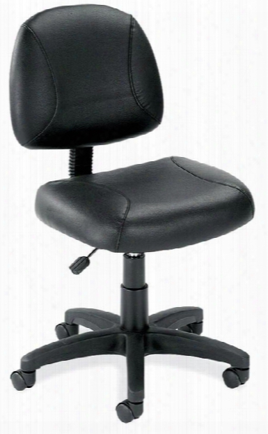 Black Leather Armless Task Chair By Office Source