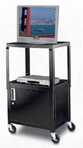 Black Steel Utility Cart With Cabinet By H Wilson