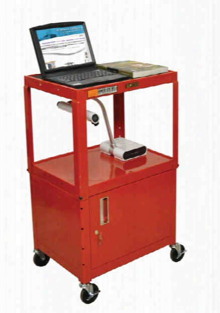 Colored Steel Utility Cart With Cabinet By H Wilson