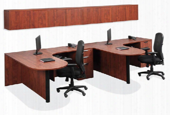 Double Workstation With Wall Storage By Office Source