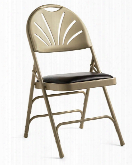 Fanback Steel & Bonded Leather Folding Chair By Samsonite