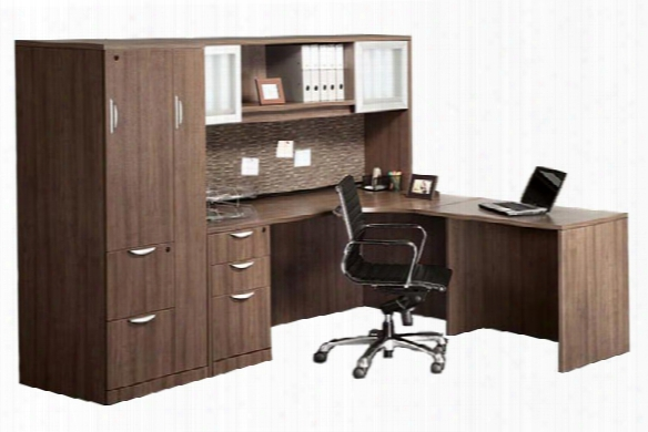 L Shaped Desk With Hutch And Wardrobe Storage By Office Source