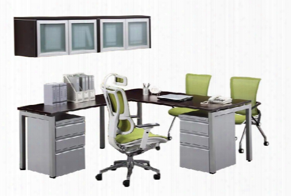 L Shaped Table Desk With Hutch By Office Source