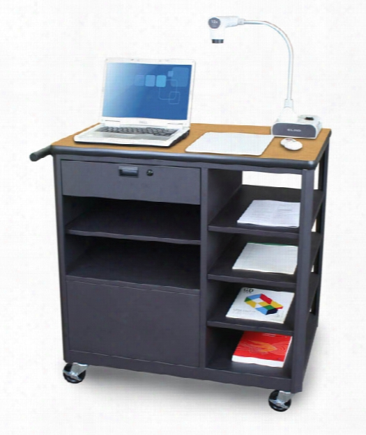 Marvel Vizion Presenter Mobile Presentation Cart With Four Side Shelves- (oak Laminate) By Marvel