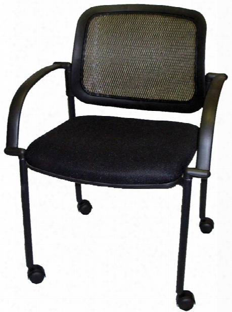 Mesh Back Guest Side Chair With Casters By Marquis