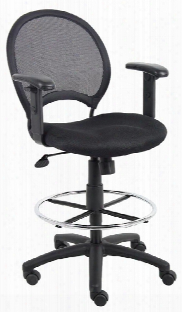 Mesh Drafting Stool With Adjustable Arms By Boss Office Chairs