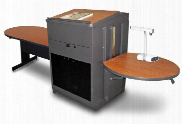 Peninsula Table With Media Center And Lectern, Adjustable Height Platform, Acrylic Doors - (cherry Laminate) By Marvel