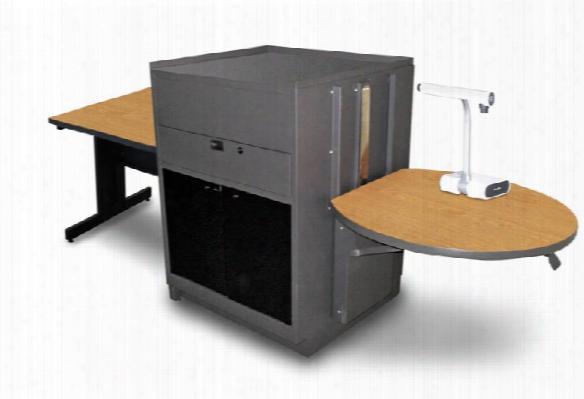 Rectangular Table With Media Center, Adjustable Height Platform, Acrylic Doors - (oak Laminate) By Marvel