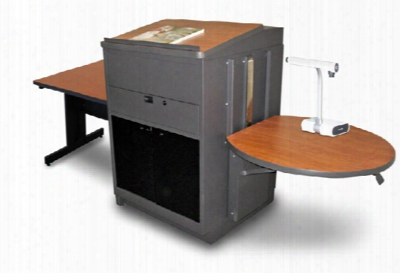 Rectangular Table With Media Center And Lectern, Adjustable Height Platform, Acrylic Doors - (cherry Laminate) By Marvel