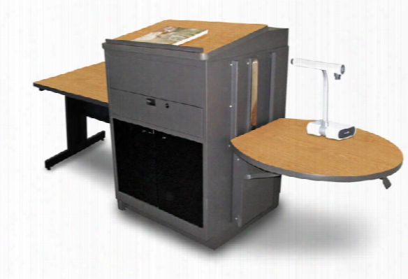 Rectangular Table With Media Center And Lectern, Adjustable Height Platform, Acrylic Doors - (oak Laminate) By Marvel