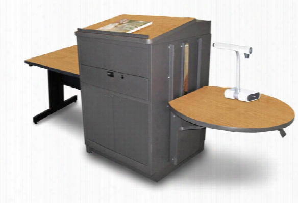 Rectangular Table With Media Center And Lectern, Adjustable Height Platform, Steel Doors - (oak Laminate) By Marvel