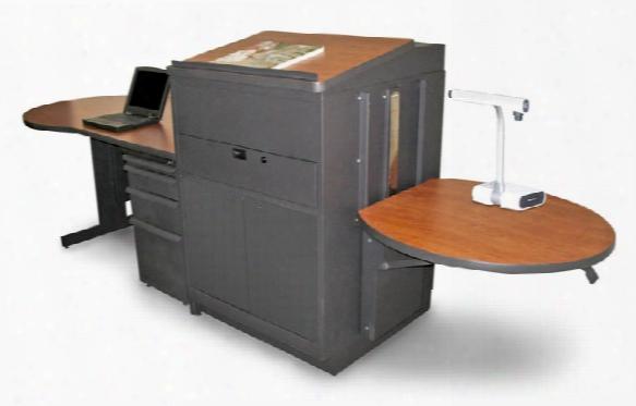 Teacher's Desk With Media Center, Steel Doors - Dark Neutral Finish/cherry Laminate By Marvel