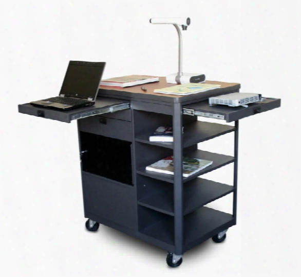Vizion Presenter Multimedia Cart With Acrylic Doors, Four Side Shelves, - (cherry Laminate) By Marvel