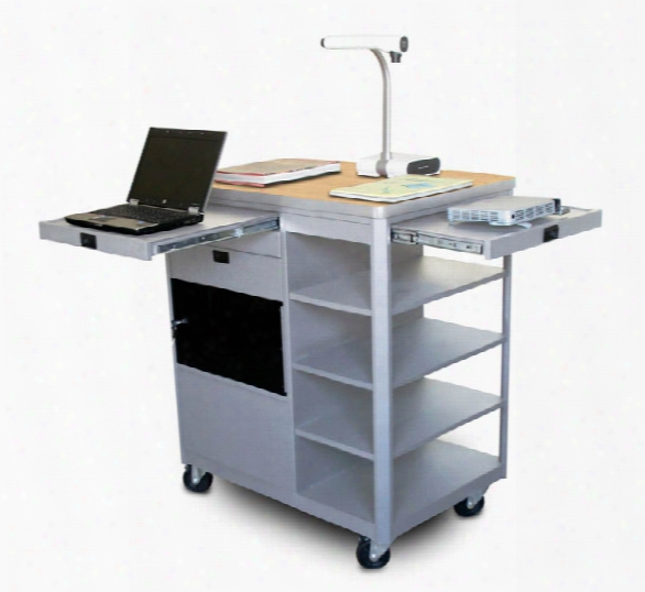 Vizion Presenter Multimedia Cart With Acrylic Doors, Four Side Shelves, - (kensington Maple Laminate) By Marvel