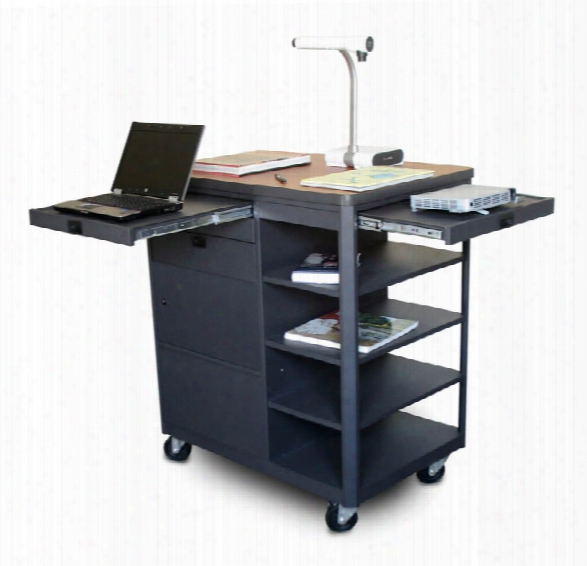 Vizion Presenter Multimedia Cart With Steel Doors, Four Side Shelves, - (cherry Laminate) By Marvel