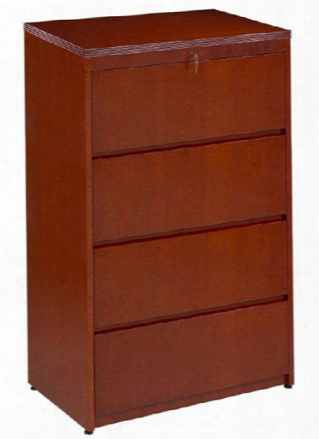 Wood Veneer 4 Drawer Lateral File By Rudnick