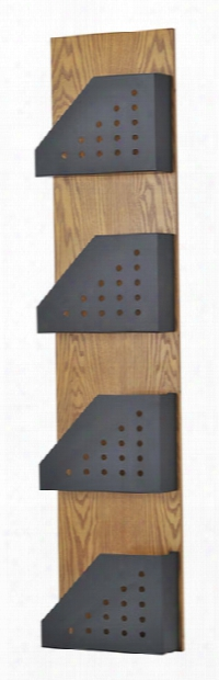 Wood Wall Display Rack With 4 Steel Pockets By Buddy Products
