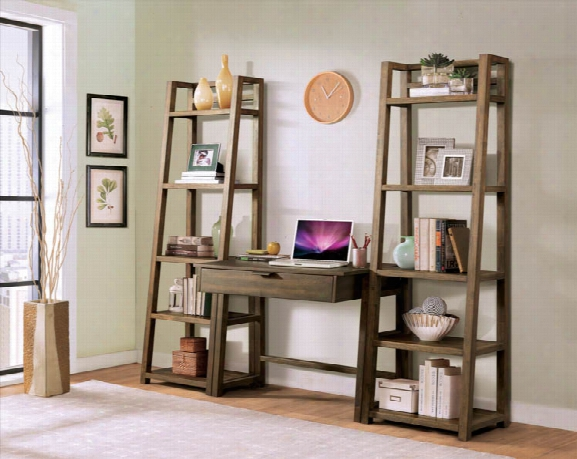 2 Leaning Bookcases With Wall Desk By Riverside