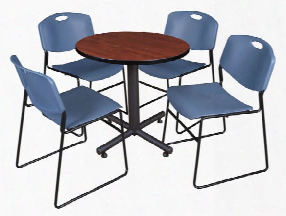 "30"" Round Breakroom Table- Cherry & 4 Zeng Stack Chairs By Regency Furniture"