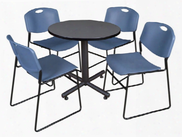 "30"" Round Breakroom Table- Gray & 4 Zeng Stack Chairs By Regency Furniture"