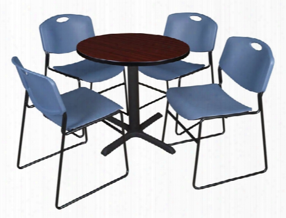 "30"" Round Breakroom Table- Mahogany & 4 Zeng Stack Chairs By Regency Furniture"