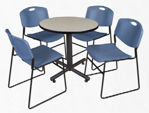 "30"" Round Breakroom Table- Maple & 4 Zeng Stack Chairs By Regency Furniture"