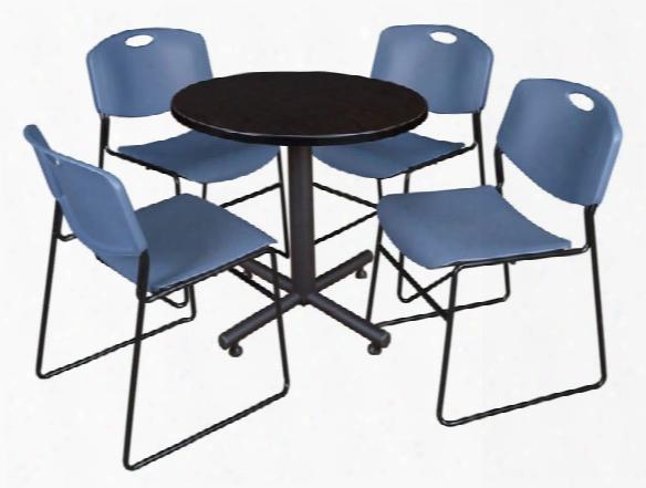 "30"" Round Breakroom Table- Mocha Walnut & 4 Zeng Stack Chairs By Regency Furniture"