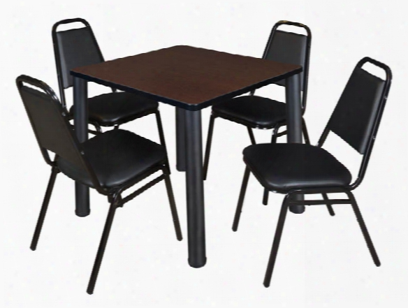 "30"" Square Breakroom Table & 4 Restaurant Stack Chairs By Regency Furniture"