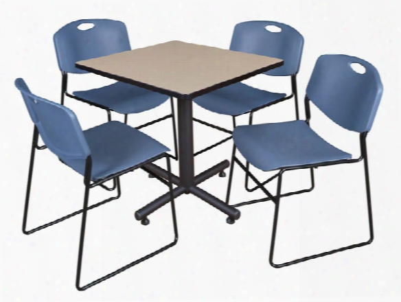 "30"" Square Breakroom Table- Beige & 4 Zeng Stack Chairs By Regency Furniture"