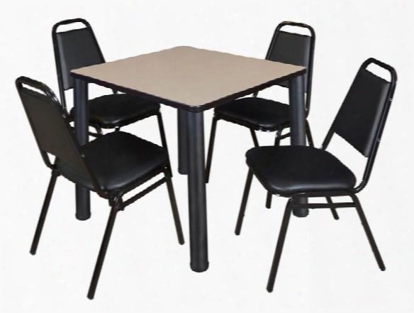 "30"" Square Breakroom Table- Beige/ Black & 4 Restaurant Stack Chairs- Black By Regency Furniture"