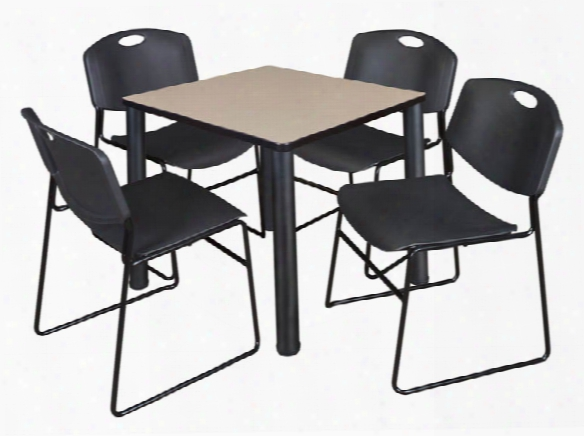 "30"" Square Breakroom Table- Beige/ Black & 4 Zeng Stack Chairs By Regency Furniture"