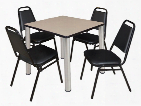 "30"" Square Breakroom Table- Beige/ Chrome & 4 Restaurant Stack Chairs- Black By Regency Furniture"