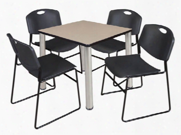 "30"" Square Breakroom Table- Beige/ Chrome & 4 Zeng Stack Chairs By Regency Furniture"