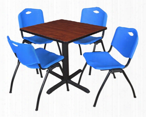 "30"" Square Breakroom Table- Cherry & 4 'm' Stack Chairs By Regency Furniture"