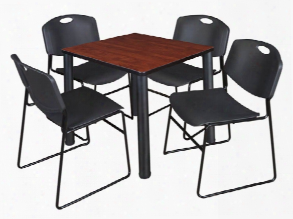 "30"" Square Breakroom Table- Cherry/ Black & 4 Zeng Stack Chairs By Regency Furniture"