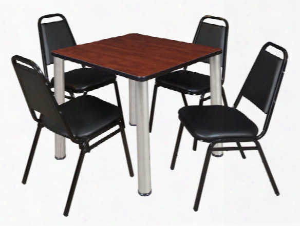 """30"""" Square Breakroom Table- Cherry/ Chrome & 4 Restaurant Stack Chairs- Black By Regency Furniture"""