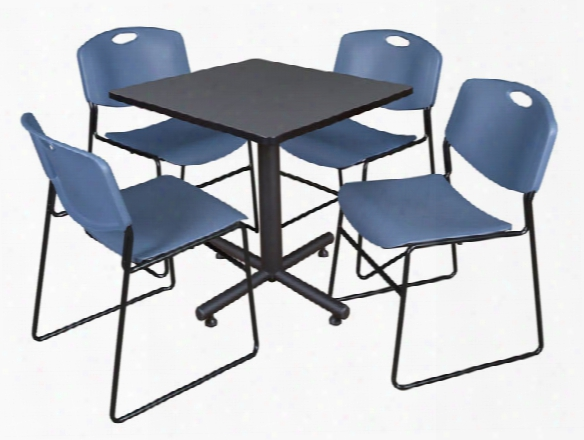 "30"" Square Breakrooom Table- Gray & 4 Zeng Stack Chairs By Regency Furniture"