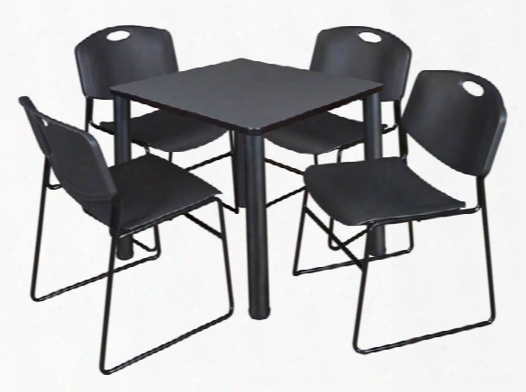 """30"""" Square Breakroom Table- Gray/ Black & 4 Zeng Stack Chairs By Regency Furniture"""