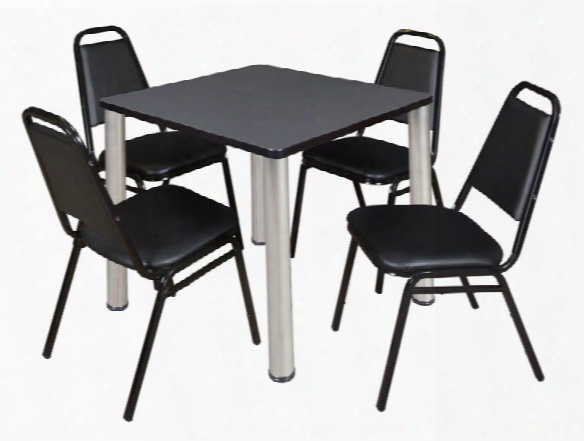 "30"" Square Breakroom Table- Gray/ Chrome & 4 Restaurant Stack Chairs- Black By Regency Furniture"