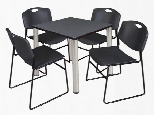 "30"" Square Breakroom Table- Gray/ Chrome & 4 Zeng Stack Chairs By Regency Furniture"