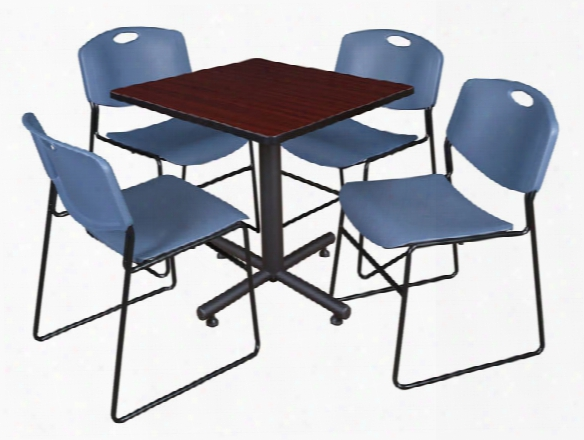 "30"" Square Breakroom Table- Mahogany & 4 Zeng Stack Chairs By Regency Furniture"