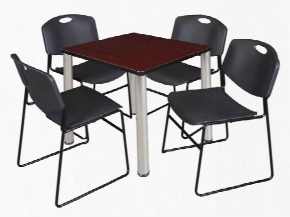 "30"" Square Breakroom Table- Mahogany/ Chrome & 4 Zeng Stack Chairs By Regency Furniture"
