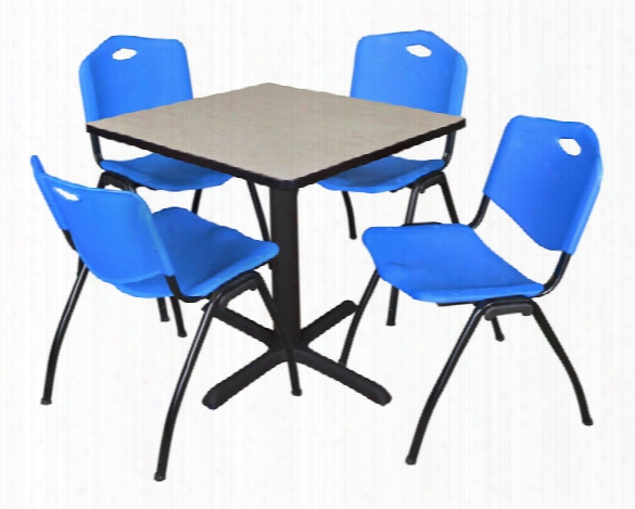 "30"" Square Breakroom Table- Maple & 4 'm' Stack Chairs By Regency Furniture"